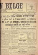 NATION BELGE 12/11/1946 MRP Bloemendael Grand Duché De Luxembourg Alfred Loritz Salazar Parc Duden Union Gérardin - Kranten