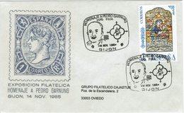 ENVELOPE CANCELLATION EXPOSITION PHILATÉLIQUE - PEDRO GARNUNG - PELAYO 1985 - Celebridades