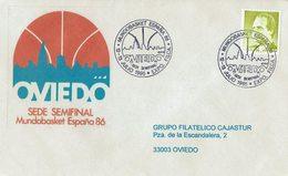 ENVELOPE CANCELLATION MUNDO BASKET ESPAGNE 86 DEMI-FINALE OVIEDO 1986 - Baloncesto