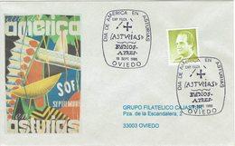 ENVELOPE CANCELLATION JOUR DE L´AMÉRIQUE DANS ASTURIAS - PARADE - BUENOS AIRES 1986 - Disfraces