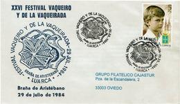 ENVELOPE CANCELLATION FESTIVAL VAQUEIRO - PÂTURAGE D´ÉTÉ - VACHES 1984 BRAÑA - Disfraces