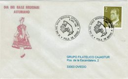 ENVELOPE CANCELLATION JOUR DE LA DANSE D´ASTURIAN RÉGIONALE 1985 PORC - Baile