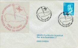 ENVELOPE CANCELLATION JOUR DE LA DANSE D´ASTURIAN RÉGIONALE 1984 CARTE ET DRAPEAU D´ASTURIAS - Baile