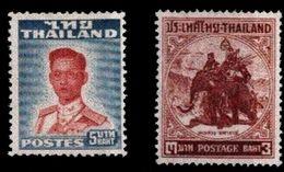 (012+15) Thailand 1951-1955  Elephant + King / Roi High Vals.   Mng / Sans Gomme  Mi 293 + 315  Cat. 170 € At 10% - Thailand