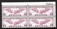 U.S.C16 PLATE BLOCK  *  AERO  WINGS - 1b. 1918-1940 Unused