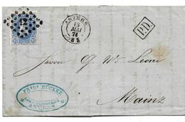 B029 / Belgien,  Leopold II 20 C. Dunkelultramarin 1874, Anvers Nach Mainz - 1869-1883 Leopold II.
