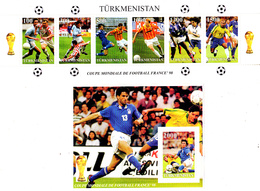 Turkmenistan 1998 6 Timbres + Bf France 98 - Turkménistan