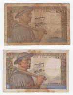 2 Billets .10 FRANCS MINEUR - 1942 (H.15=10=1942.H). (C.11=6=1942.C.) - 1871-1952 Circulated During XXth