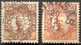 Pays : 452,03 (Suède : Gustave V)  Yvert Et Tellier N° :   69 (o) 2 Nuances - Suède