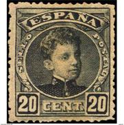ES247STV-LFT2193TCFR.CADETE.España. Spain.Espagne.Alfonso Xlll Joven.1901/5.(Ed 247*)con Levisima Charnela. Lujo - Familias Reales