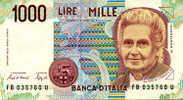 Billets - ITALIE, 1000 Lires M. MONTESSORI FB035760U, état Neuf. - 1000 Lire