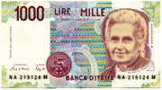 Billets - ITALIE, 1000 Lires M. MONTESSORI NA 219124M, Circulé, Très Bon état Général. - 1000 Lire