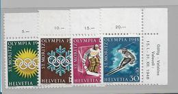 Mot093 / SCHWEIZ -  St. Moritz 1948 – Satz Bogenecke Rechts, Deutsch, Postfrisch - Winter 1948: St. Moritz