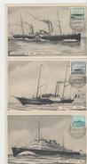 B268 /  -  BELGIEN - Ostende-Dover 1946 – 100 Jahre Auf 3 Karten - Maximumkarten (MC)