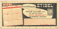 """BUVARD publicitaire -Etiquettes """"ETIBEL"""" - Jette-Bruxelles 1963"""