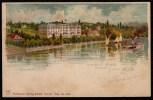 """LITHO KARTE 1902 SUPERBE !! OUCHY Hôtel """"BEAU RIVAGE""""avec BATEAU A VAPEUR !!!verlag Künzli Zürich. MINT !!! - VD Vaud"""