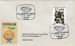 ENVELOPPE OBLITEREE - CHAMPIONNAT Du MONDE FIFA 1982 - PARTI ALLEMAGNE - LE CHILI À GIJON 20-06-1982 - Fútbol