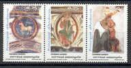 TIMBRE NOUVEAU L´ANDORRE ANDORRA - TRIPTYQUE - PATRIMOINE ARTISTIQUE - PEINTURES ROMANES MURALES DE SAINTE COLOMA 2002 - Religión