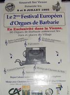 VOUNEUIL/VIENNE - 2e Festival Européen D´orgues De Barbarie (1995) - Manifesti & Poster