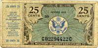 Etats-Unis USA Military Payment Certificate 25 Cents Séries 472 - Military Payment Certificates (1946-1973)