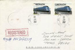 Lettrre Recommandee Postee A L'ile De GRENADE, Vers Texas - Grenade (1974-...)