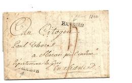 Ham007/  HAMBURG - (Feusser Nr. 1349/1) 2-fach Aufgestempelt (Oben Und Unten Links) Spät Verwendet 1800 Nach Frankreich - Hamburg