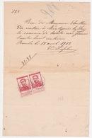2 X  N° 118 Sur Recu  De    1913   CACHET     BINCHE. 12/4/1913 - 1912 Pellens