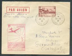 L. Affranchie à 3 Fr. Obl. Sc PORNICHET Du 23-5-1939 Vers Le Portugal Via Paris + Gr. 1er Service Aérien - 2485 - Poste Aérienne
