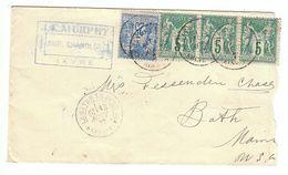 France 1877 Sage 25c. Bleu + 3*5c. YT79+3*75 Lettre Le Havre Pour Etats Unies Tarif Voie De Mer - 1877-1920: Periodo Semi Moderno