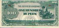 BIRMANIE - Occupation Japonaise (40/45) - 100 Roupies - Billets