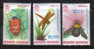 PC345 - INDONESIA , Yvert N. 607/609  ***  Insetti Diversi - Indonesia