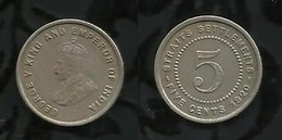 MALAYSIE . 5 CENTS . 1920  . - Malasia