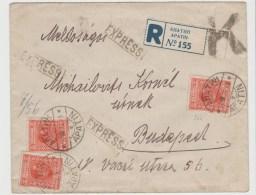 Yu013/  JUGOSLAWIEN - Alexander 4D. Rotorange (3 X),Expres- Einschreiben Nach Budapest 30.8.26 ) - 1919-1929 Königreich Der Serben, Kroaten & Slowenen