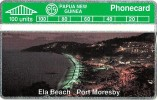 PAPUA NEW GUINEA 100 U ELA BEACH PORT MORESBY SUNSET L & G  PNG-06a  MINT CV$100 !!!  READ DESCRIPTION  !!! - Papua Nuova Guinea