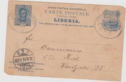 Lb011/  LIBERIA - P 5 F, Dt.Seepost 1904. Präsident/Wappen(Sonne.Pflug,Segelschiff) - Liberia