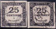 *PROMO* Les Types I Et II Du 25c Taxe Carré TTB (Y&T N° 5, Dallay 3 I / 3 II , Cote 150€) - Taxes