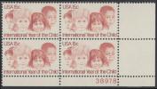 !a! USA Sc# 1772 MNH PLATEBLOCK (LR/38978) - International Year Of The Child - Unused Stamps