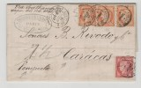 Fc132/ FRANKREICH -  Ceres 1876 Venezuela. Tarif 2 F. (40 C X 3, 80 C X 1)1 - 1849-1876: Période Classique