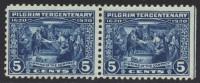 USA Mi.N° 257 ** Als  Paar, Linke Marke Rechts Geschnitten Mit Blauer Trennungslinie (Schnittlinie)  ; 1920 - Unused Stamps