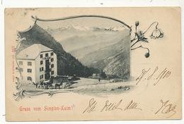 Gruss Vom Simplon Kulm Diligence Voyagé Brigue 1900 - VS Valais