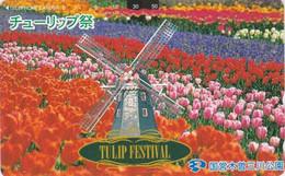 TC Japon - MOULIN & Champ De Tulipes - MILL Japan Phonecard - MOLEN - MOLINO - 49 - Landschaften