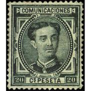 ES176STV-LFT**176S.España. Spain.Espagne.ALFONSO Xll.1876. (Ed 176*) Con Charnela. - Nuevos