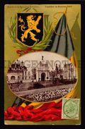 Belgium Universal Exposition 1910 Colorfull Lithography Entree De La Bruxelles Kermesse Flag (w4_3472) - Exposiciones Universales