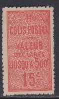 France Colis Postaux N° 30 XX Valeur Déclarée 15 C. Vermillon, Sans Charnière, TB - Mint/Hinged