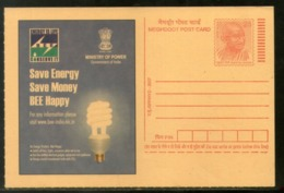 India 2007 Save Energy Electricity CFL Bulb Science Power Gandhi Post Card # 315 - Electricity