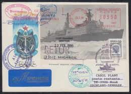"""RUSSIA 1998 COVER Used NUCLEAR ICEBREAKER """"ARKTIKA"""" BRISE-GLACE Eisbrecher ATOM NORTH ARCTIC NORD POLAR Greenland Mailed - Polar Ships & Icebreakers"""