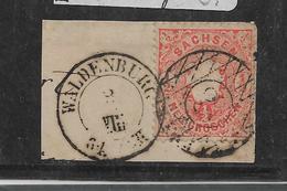Sac153/ Mi. 15, Stempel 85,Briefstück, Waldenburg - Sachsen