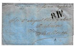 Eb009/ Montevideo Palma, -Mallorca 1860 Via London/La Junquera, 8 Rs.de Gofio - Lettres & Documents