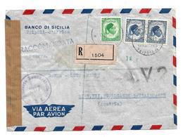 Iko011/ LIBYEN -  -  Idris Auf Bankeinschreiben A.V.2 ( Schwarz RRR) 1953 (cover, Lettre) - Libyen