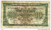 "10 Francs 2 Belgas  ""BELGIQUE""  01 02 1943         Bc90 - [ 2] 1831-... : Belgian Kingdom"